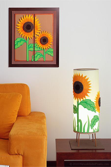 Cuadro y Lámpara de Girasol