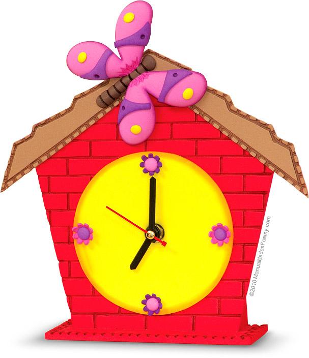 Reloj Casita en Foamy Goma Eva | ManualidadesFoamy.com